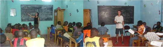 Jenny and Jerome teaching in MDG's classrooms