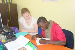 1st step - writing the message, with Mamadou Diao
