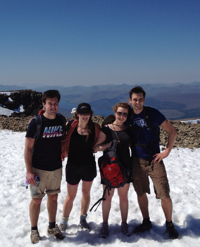 Venetia (2nd from left) on top of Ben Nevis