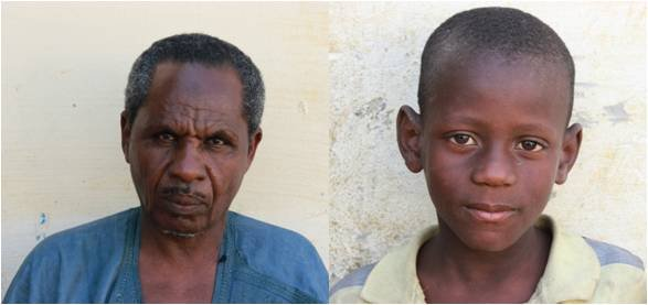 Identity photos, marabout and child, from a daara