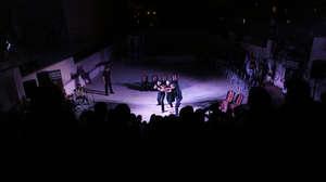 Freedom Bus performance in Aida Camp