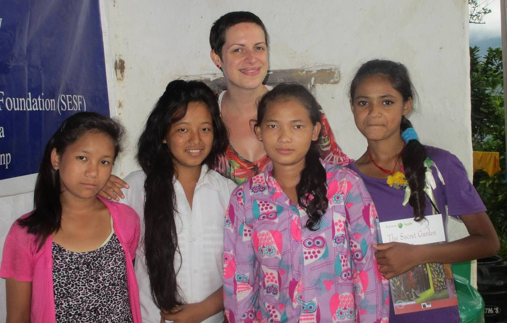 Melissa with  with girls from the orphanage