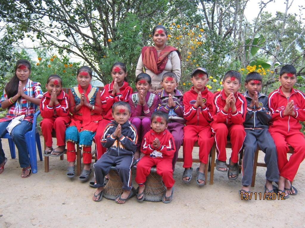 Children Celebrating Dashain festival.