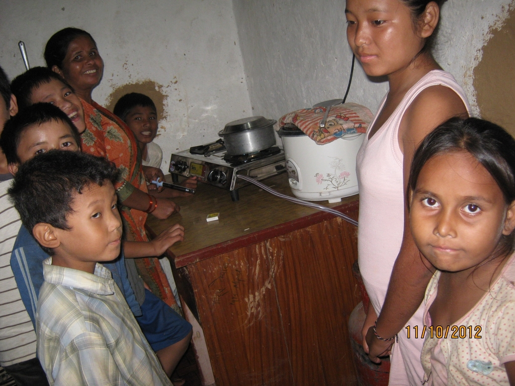 The gas stove in the kitchen