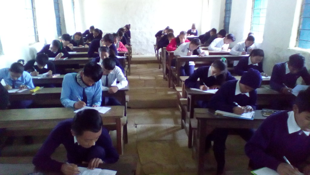 The kids taking their halfyearly exam