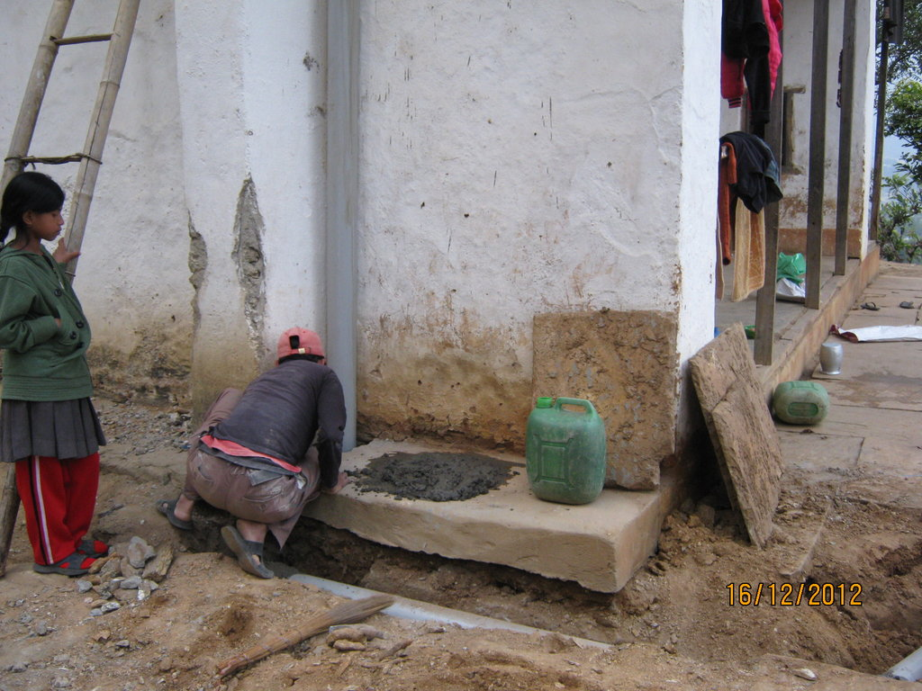 Toilet of the orphanage is under construction.