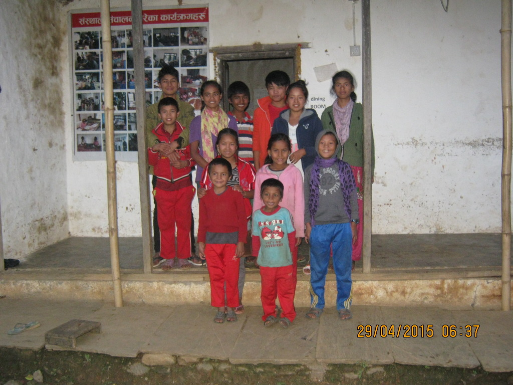 The kids at  the orphanage after  the earhquake