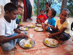 The children having food