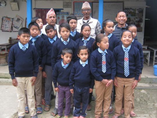 Kids  with  their school teachers.