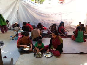 women and children in temporary shelter...