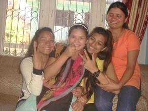 Girls having fun in shelter