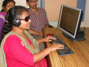 100% visually challenged Chandana at work