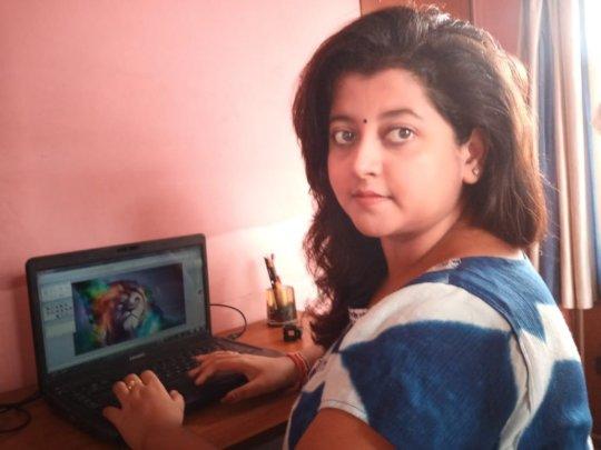 Moumita, working at her new job