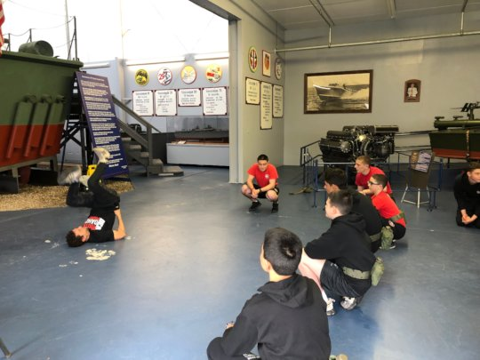 Young Marines in awe of Henry's amazing moves!