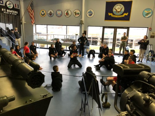Young Marines learning hip hop and breakdancing
