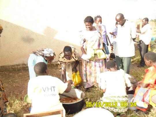 Members serving food