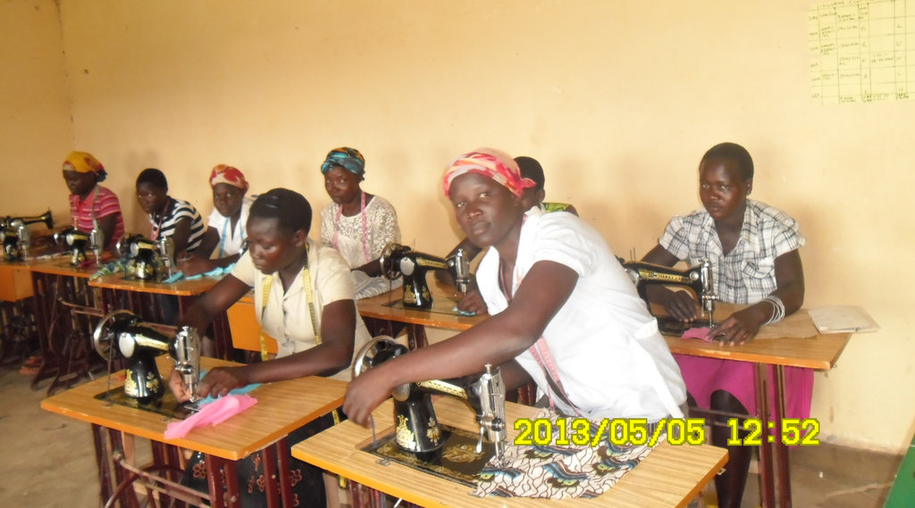Young women at tailoring training