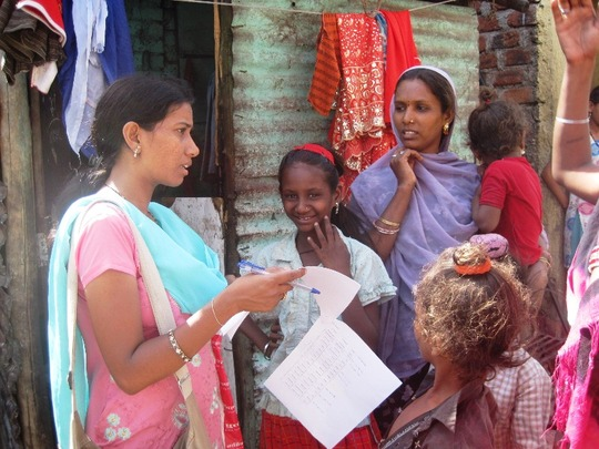 Visits to prospective new students' houses in slum
