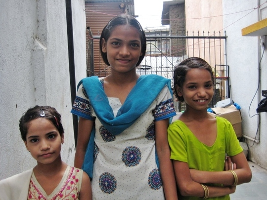 Ranjana with her younger sisters