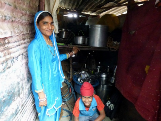 Vardhan's mother shows their kitchen area