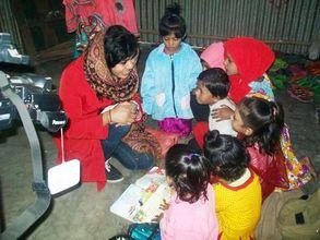Arishaa Khan with the kids at Chittagong Preschool