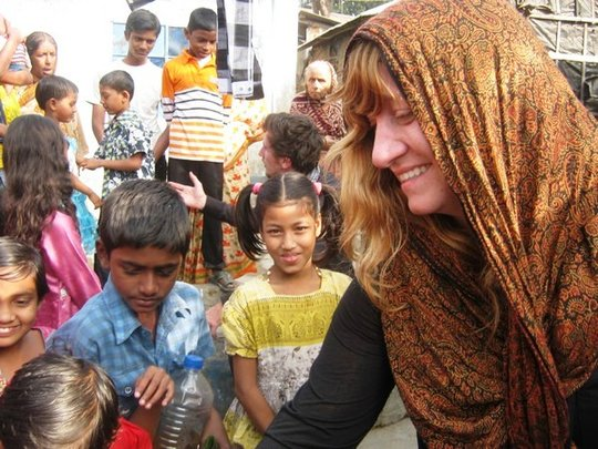 Katie Basbagill with Chittagong Preschool kids