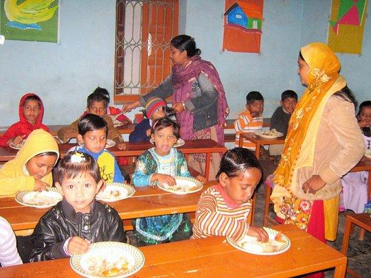 Rangpur preschoolers enjoying lunch