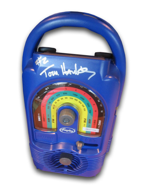 One of 10 Lifeline radios signed by Tom Hanks