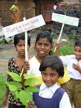 Students at a 2011 planting in Maharashtra