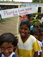 Students parading to announce the tree planting