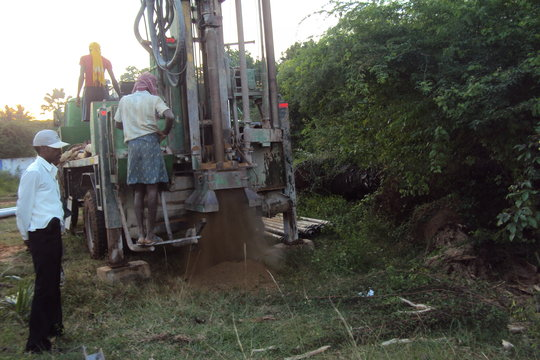 Work for placing a bore well in a school