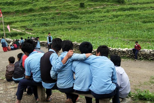 Boys outside the secondary school in Tipling