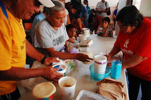 Distribuiting food in a Community Center