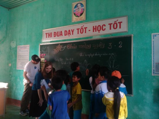 Scott and a visitor with Pa Nho students