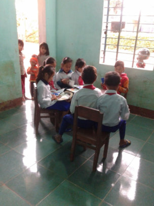 Ban 1 Satellite School students at their class