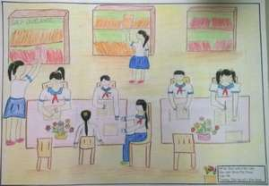 A drawing about the Khe Sanh library by a student