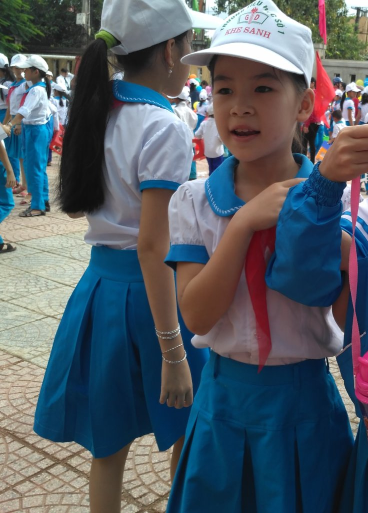 A girl in uniform at New School Day