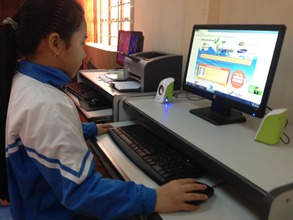 A student uses computer for online learning