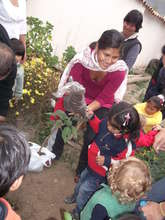 Families and their kids helping to plant a tree