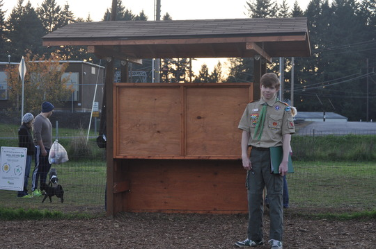 Eagle Scout Eric with Kiosk Project