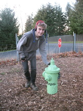 Eagle Scout Ryan with new hydrant at Ross Dog Park