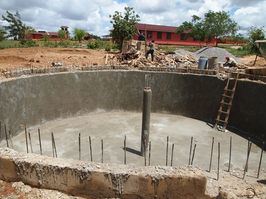 Construction of water storage tank, Dec 2012