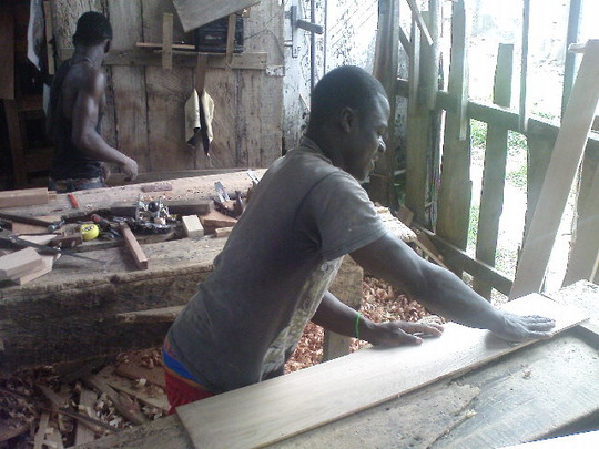An ex-child slave in carpentry training
