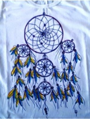 another shirt by Benicio w/indigenous theme