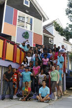 Group picture in front of the art house.