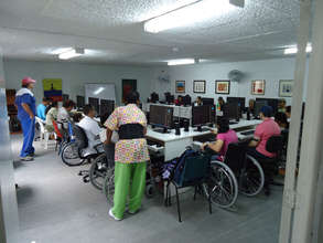 Group of people receiving training