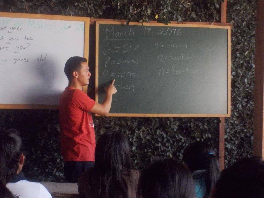 Senior students teaching English