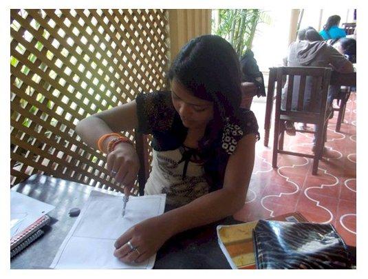 Angelita doing her homework