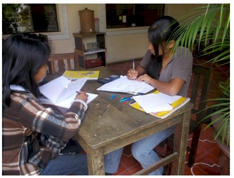 Jackie and Carmen studying