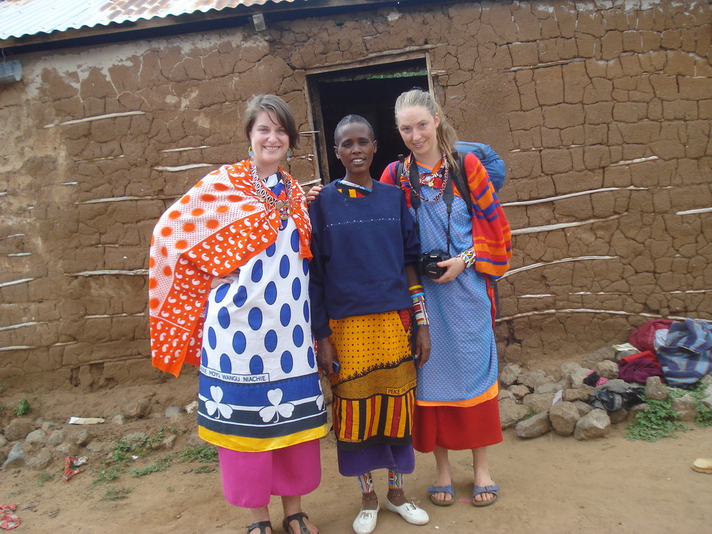 Our interns Claire and Emily with a friend.